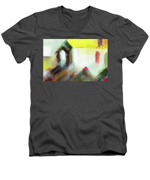Men's V-Neck T-Shirt featuring the painting Portal by Anil Nene