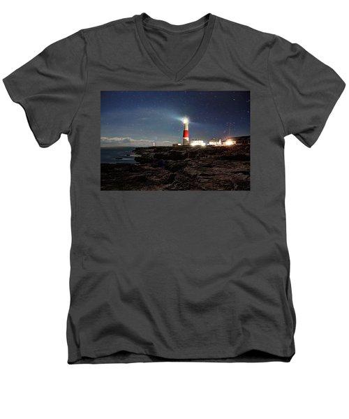 Portland Bill Lighthouse Uk Men's V-Neck T-Shirt