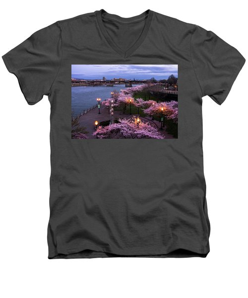 Portland Cherry Blossoms Men's V-Neck T-Shirt