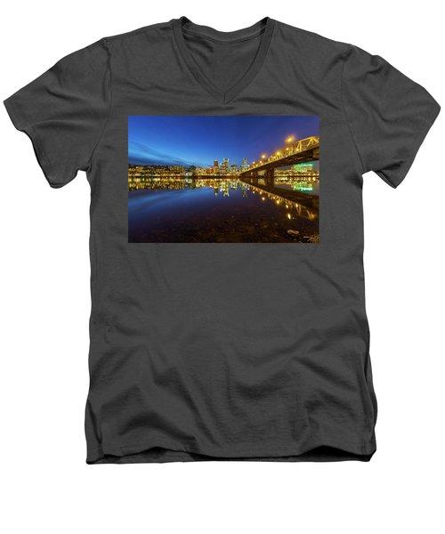 Portland Downtown Blue Hour Men's V-Neck T-Shirt