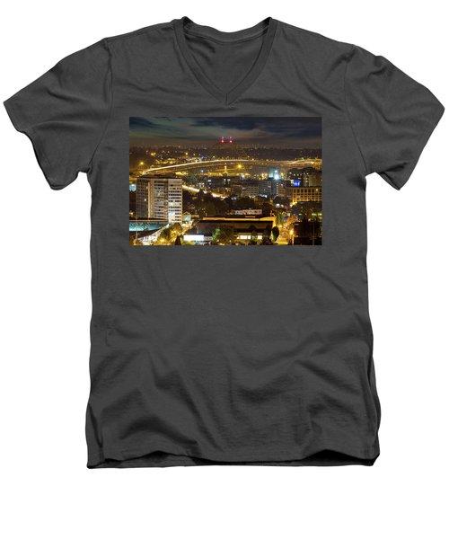 Portland Fremont Bridge Light Trails At Night Men's V-Neck T-Shirt