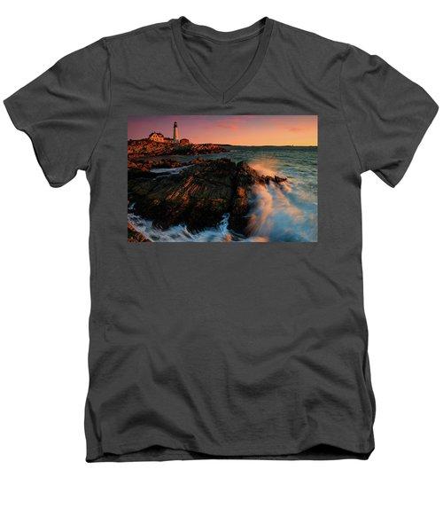 Men's V-Neck T-Shirt featuring the photograph Portland Head First Light  by Emmanuel Panagiotakis