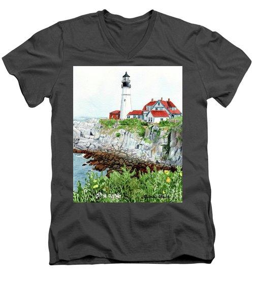 Portland Head Light, Lighthouse Painting, Lighthouse Print, Maine Lighthouse, Men's V-Neck T-Shirt