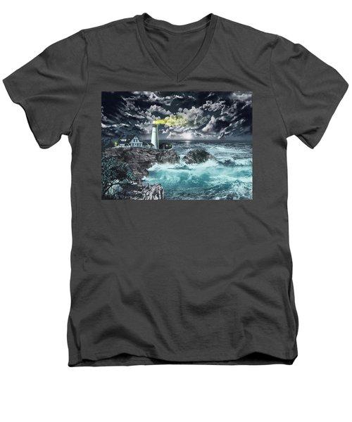 Portland Head Light Men's V-Neck T-Shirt