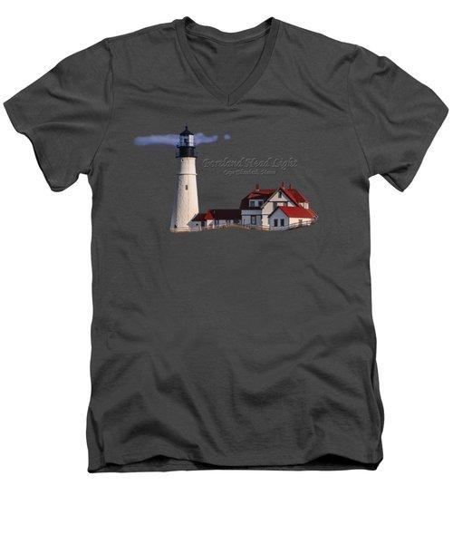 Portland Head Light No. 43 Men's V-Neck T-Shirt by Mark Myhaver