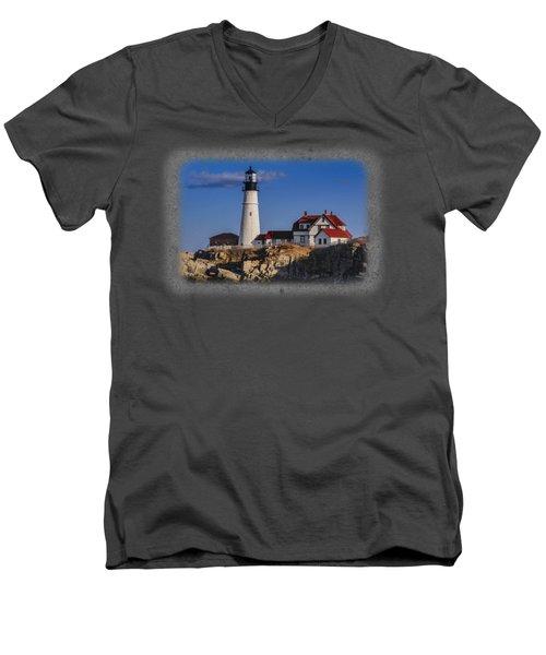 Portland Head Light No. 44 Men's V-Neck T-Shirt by Mark Myhaver