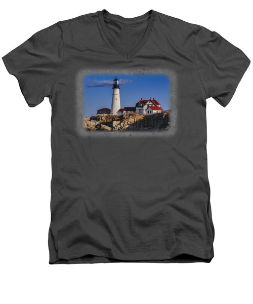 Portland Head Light No. 44 Men's V-Neck T-Shirt