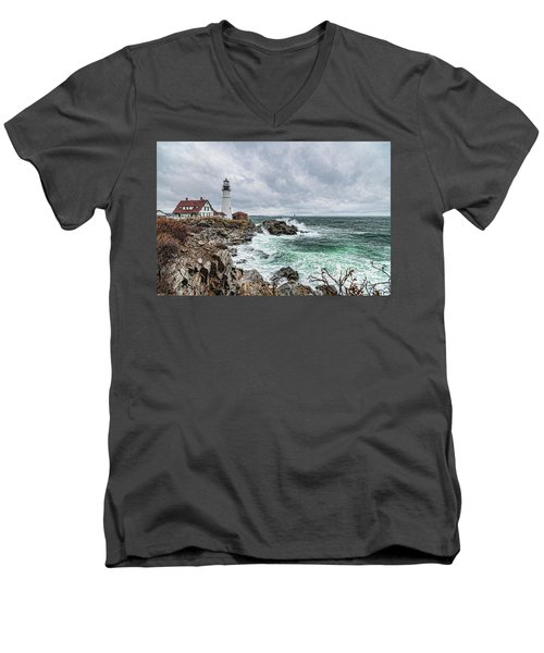 Portland Head Light Nor'easter Men's V-Neck T-Shirt