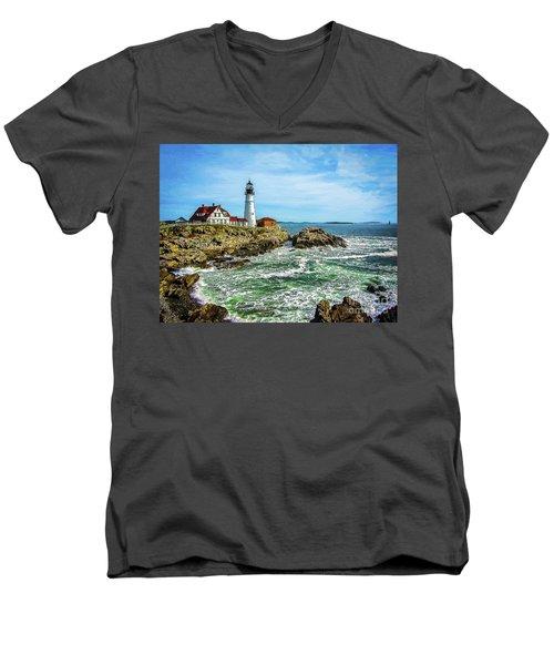 Portland Head Light - Oldest Lighthouse In Maine Men's V-Neck T-Shirt