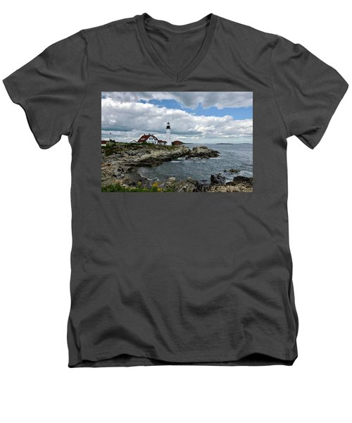 Portland Head Light, Starboard Men's V-Neck T-Shirt