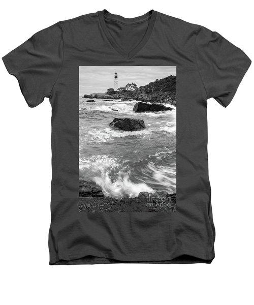 Portland Head Light Under Heavy Skies  -88356 Men's V-Neck T-Shirt by John Bald