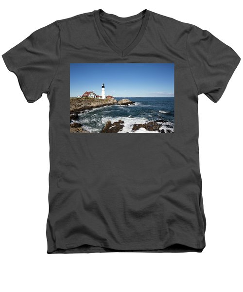 Portland Head Lighthouse Maine Men's V-Neck T-Shirt