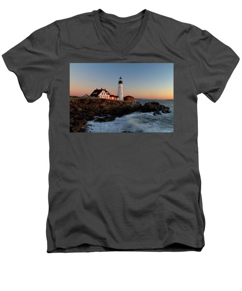 Portland Head Lighthouse Sunrise Men's V-Neck T-Shirt