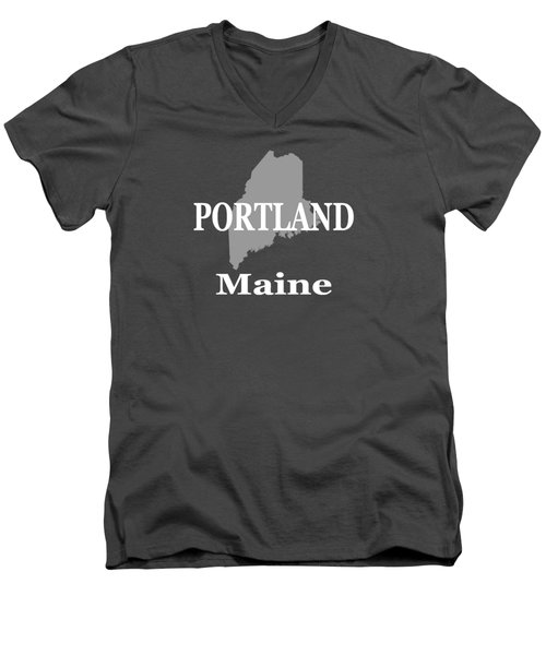 Men's V-Neck T-Shirt featuring the photograph Portland Maine State City And Town Pride  by Keith Webber Jr