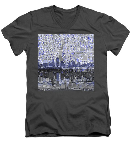 Portland Skyline Abstract Nb Men's V-Neck T-Shirt by Bekim Art
