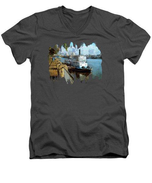 Portland Sunday Walk Men's V-Neck T-Shirt by Thom Zehrfeld