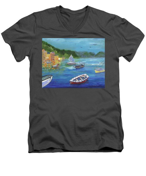 Men's V-Neck T-Shirt featuring the painting Portofino, Italy by Jamie Frier