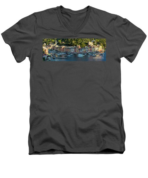 Men's V-Neck T-Shirt featuring the photograph Portofino Morning Panoramic II by Brian Jannsen