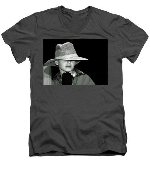 Portrait Of A Boy With A Hat Men's V-Neck T-Shirt by Alex Galkin