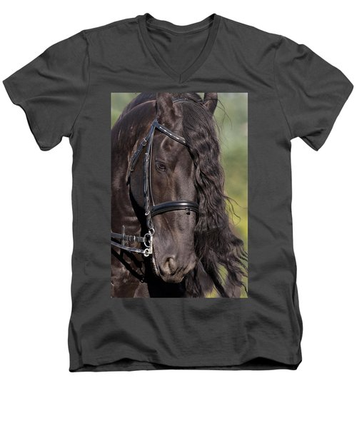 Portrait Of A Friesian Men's V-Neck T-Shirt by Wes and Dotty Weber