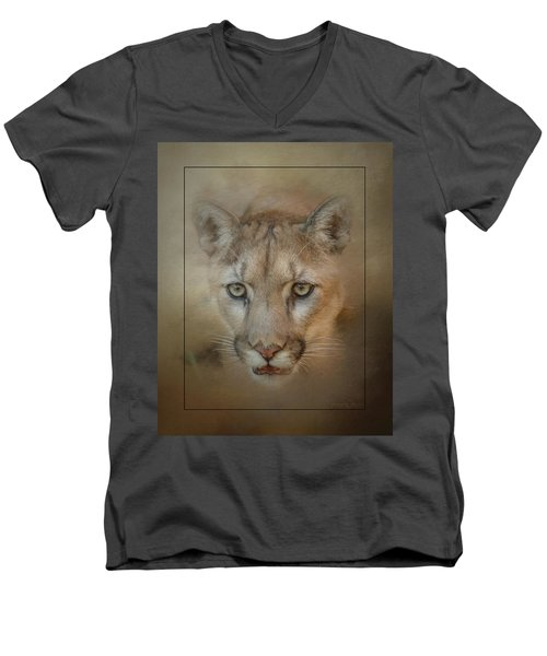 Portrait Of A Mountain Lion Men's V-Neck T-Shirt
