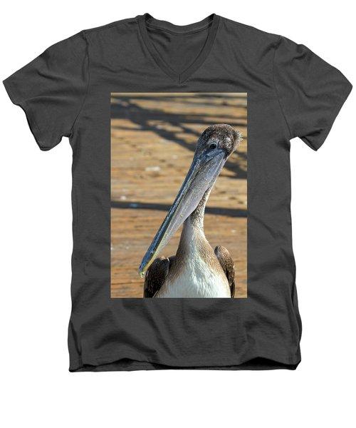 Portrait Of A Pelican On The Pier Men's V-Neck T-Shirt