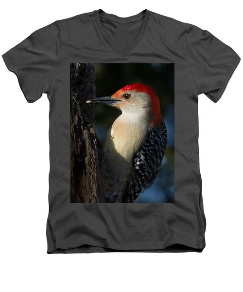 Portrait Of A Woodpecker Men's V-Neck T-Shirt