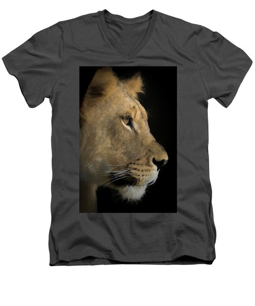 Men's V-Neck T-Shirt featuring the digital art Portrait Of A Young Lion by Ernie Echols