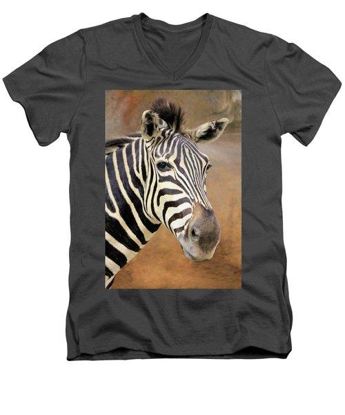 Portrait Of A Zebra Men's V-Neck T-Shirt by Rosalie Scanlon