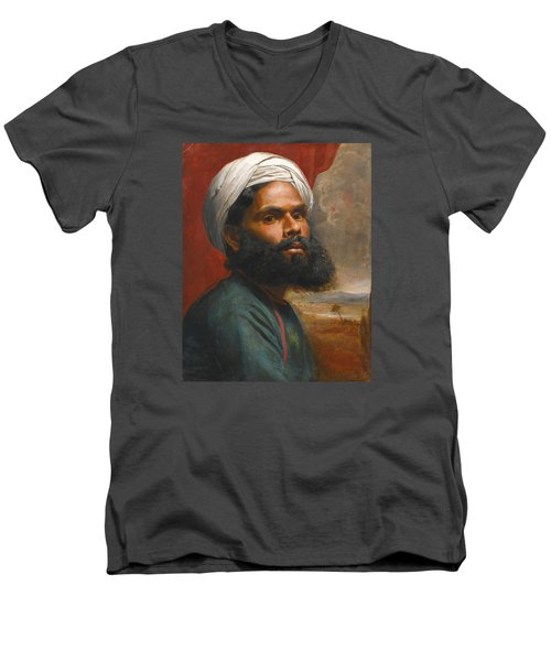 Men's V-Neck T-Shirt featuring the painting Portrait Of An Indian Sardar by Edwin Frederick Holt