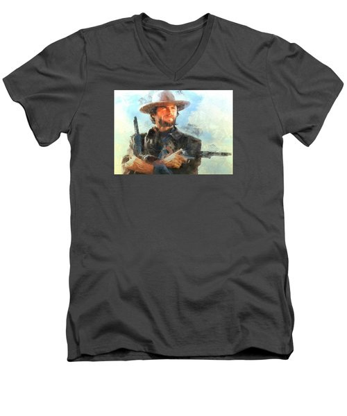 Men's V-Neck T-Shirt featuring the digital art Portrait Of Clint Eastwood by Charmaine Zoe