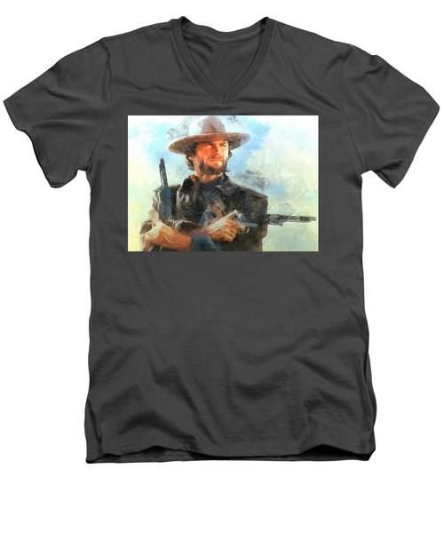 Portrait Of Clint Eastwood Men's V-Neck T-Shirt