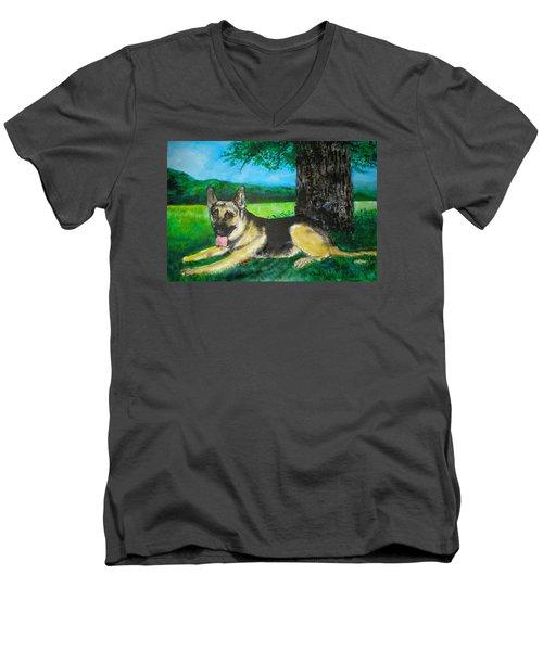 Portrait Of Edy Men's V-Neck T-Shirt by Seth Weaver