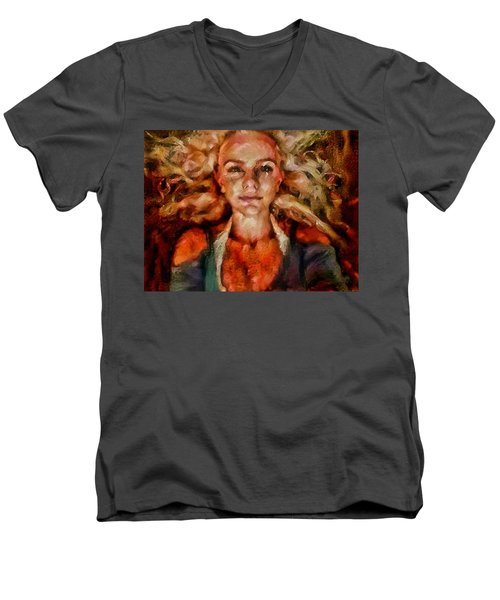 Portrait Of Female With Hair Billowing Everywhere In Radiant Unsmiling Sharp Features Golden Warm Colors And Upturned Nose Curls And Aliens Of The Departure Men's V-Neck T-Shirt by MendyZ