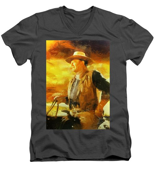 Portrait Of John Wayne Men's V-Neck T-Shirt