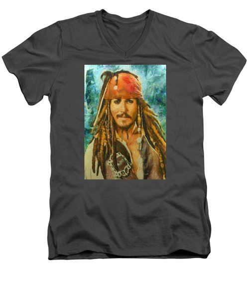 Men's V-Neck T-Shirt featuring the digital art Portrait Of Johnny Depp by Charmaine Zoe