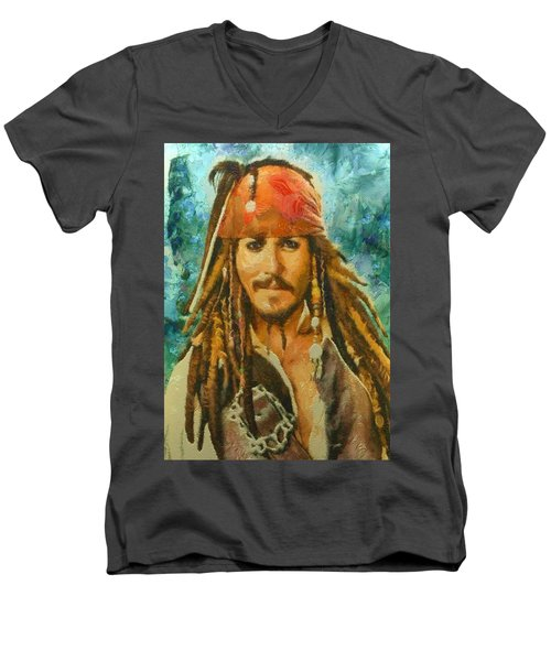 Portrait Of Johnny Depp Men's V-Neck T-Shirt