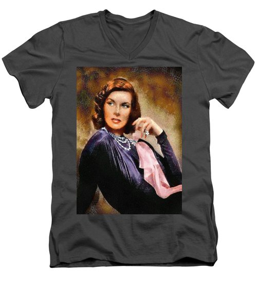 Portrait Of Katherine Hepburn Men's V-Neck T-Shirt