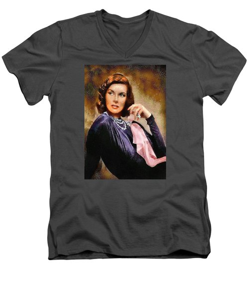 Portrait Of Katherine Hepburn Men's V-Neck T-Shirt