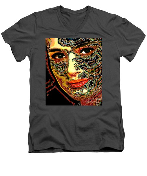 Portrait Of Natalie Portman Men's V-Neck T-Shirt by Zedi
