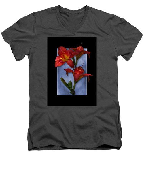 Portrait Of Red Lily Flowers Men's V-Neck T-Shirt