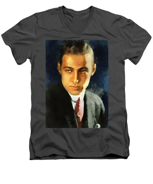 Portrait Of Rudolph Valentino Men's V-Neck T-Shirt