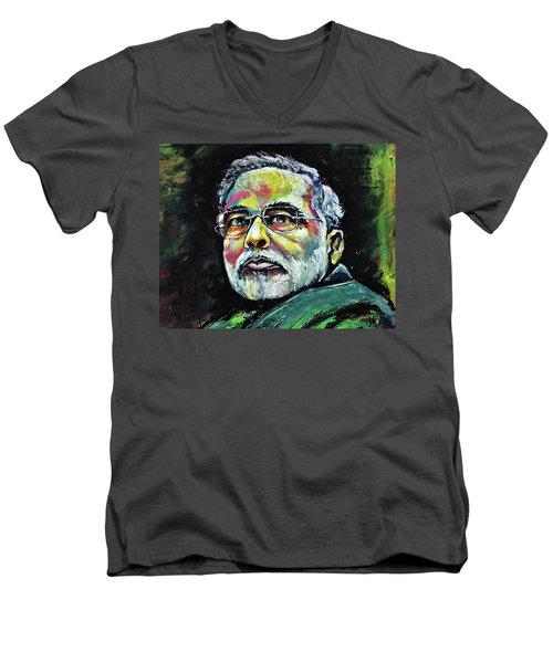 Portrait Of Shri Narendra Modi Men's V-Neck T-Shirt