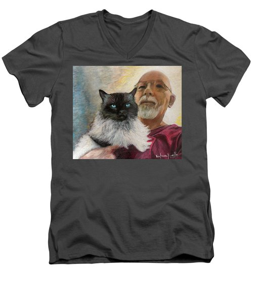 Portrait Of Veda And Ron Men's V-Neck T-Shirt by Ron Richard Baviello
