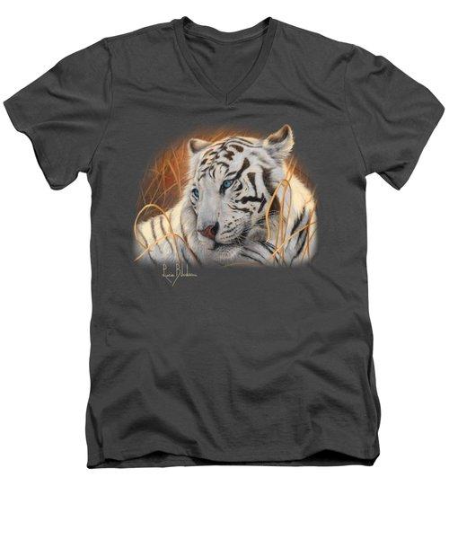 Portrait White Tiger 1 Men's V-Neck T-Shirt by Lucie Bilodeau
