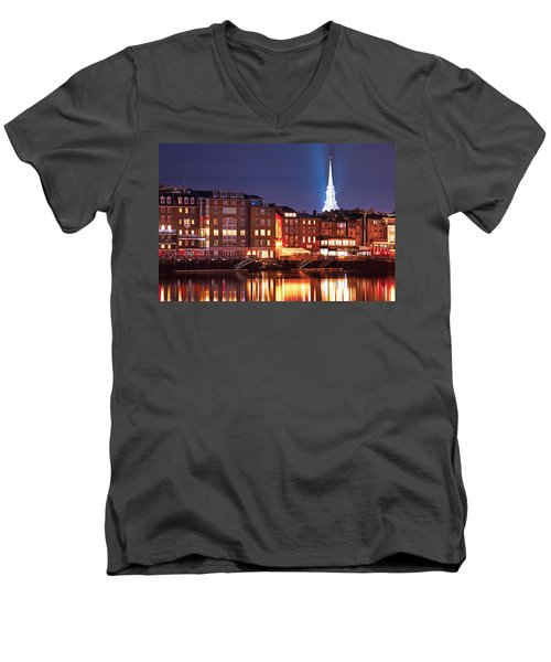 Portsmouth Waterfront At Night Men's V-Neck T-Shirt