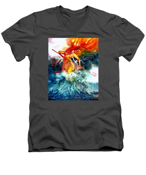 Men's V-Neck T-Shirt featuring the painting Poseidon by Henryk Gorecki