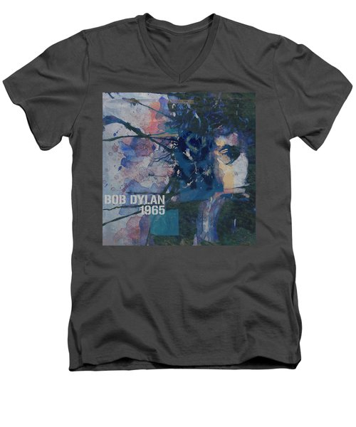 Men's V-Neck T-Shirt featuring the painting Positively 4th Street by Paul Lovering