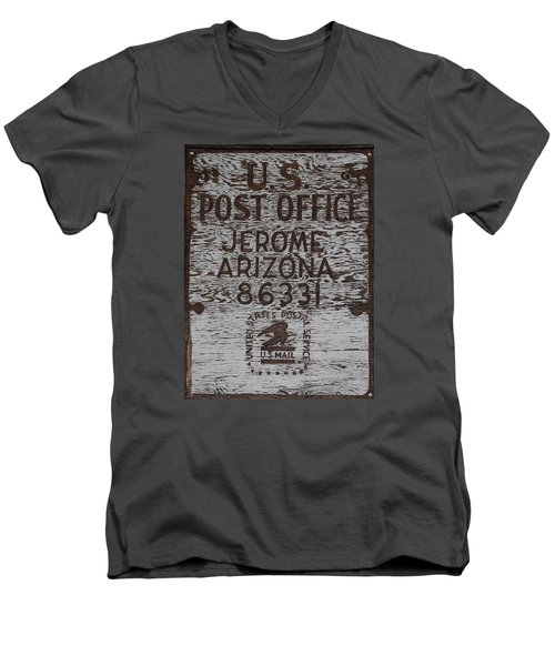 Men's V-Neck T-Shirt featuring the photograph Post Office Jerome - Arizona by Dany Lison
