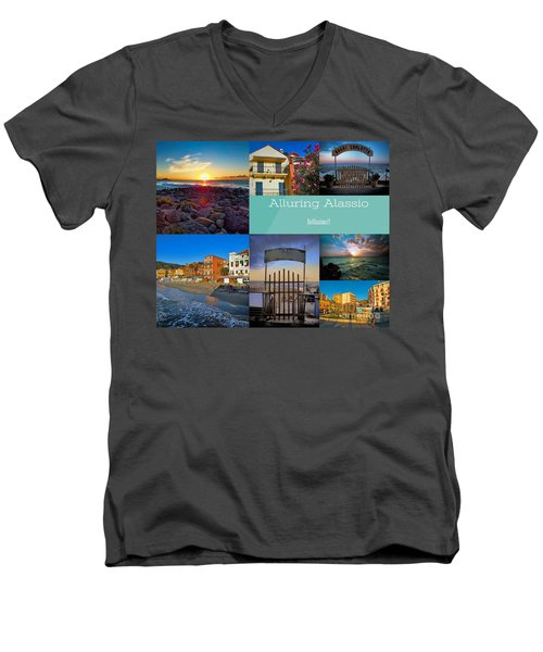 Postcard From Alassio Men's V-Neck T-Shirt by Karen Lewis